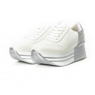 Pantofi sport cu platforma în argintiu-alb pentru dama  2