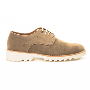 Pantofi casual din velur bej pentru bărbați