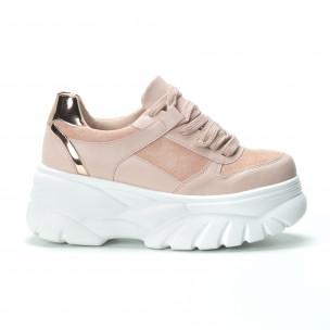 Pantofi sport Chunky roz de dama  2