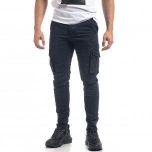 Pantaloni cargo drepți albaștri de bărbați 2