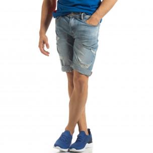 Bermude de blugi albaștri pentru bărbați