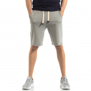 Pantaloni sport scurți gri cu dungi de bărbați