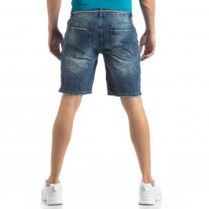 Blugi scurți albaștri pentru bărbați efect decolorat 2