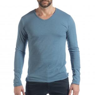 Bluză în albastru V-neck pentru bărbați