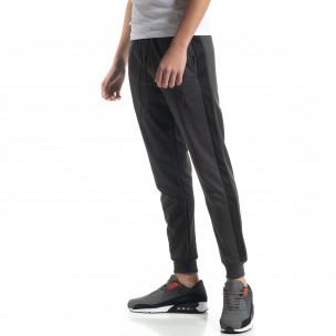 Pantaloni de trening gri cu bandă de bărbați