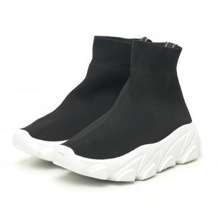 Pantofi sport de dama negri tip șosetă cu talpă albă 2
