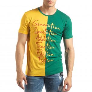 Tricou de bărbați în verde și galben cu imprimeu