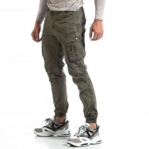 Pantaloni verzi de bărbați cu buzunare cu fermoar
