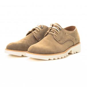 Pantofi casual din velur bej pentru bărbați  2