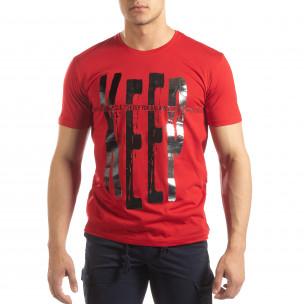 Tricou roșu pentru bărbați cu imprimeu
