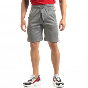 Pantaloni sport scurți gri de bărbați cu benzi și stele 2