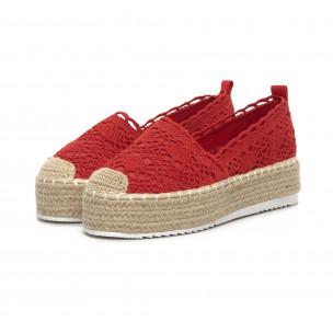 Espadrile împletite roșii de dama Rustic style 2