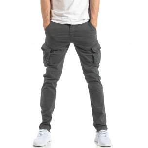 Pantaloni în gri închis tip cargo pentru bărbați