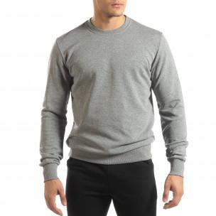 Bluză de bărbați Basic gri din bumbac  2