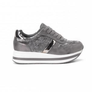 Pantofi sport cu platforma de dama în gri