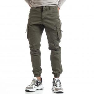 Pantaloni verzi de bărbați cu buzunare cu fermoar 2