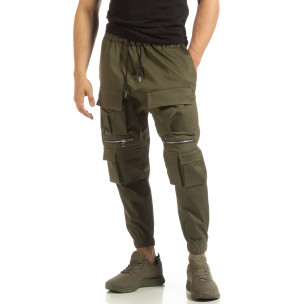 Pantaloni pentru bărbați Cropped verzi cu buzunare Duca Homme