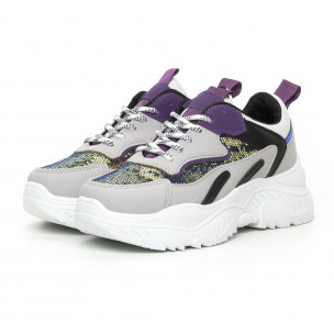 Pantofi sport de dama Chunky cu accente violet 2