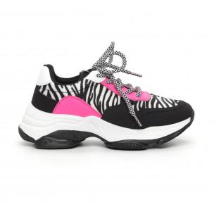Pantofi sport de dama colorați motiv zebră