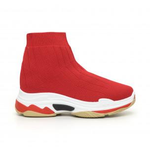Pantofi sport de dama Slip-on din țesătură tehnică roșie