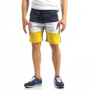 Pantaloni scurți sport albaștri de bărbați cu alb și galben