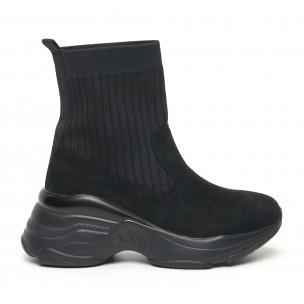 Pantofi sport de dama negri tip șosetă cu talpă voluminoasă