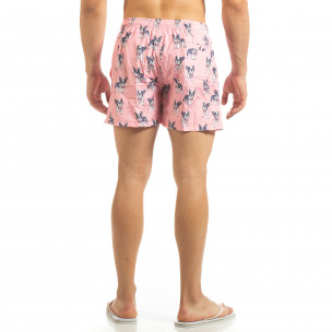 Costum de baie roz pentru bărbați motiv Puppy 2