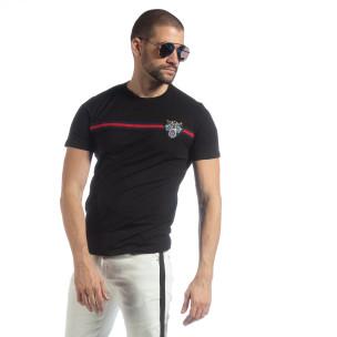 Tricou pentru bărbați negru cu banda și broderie