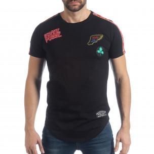 Tricou pentru bărbați negru cu aplicații