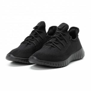 Adidași All black din material textil pentru bărbați model ușor 2