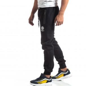Pantaloni trening de bărbați Marshall Angel negri flaușați