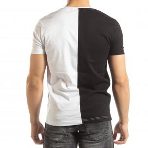 Tricou de bărbați în negru și alb cu imprimeu  2