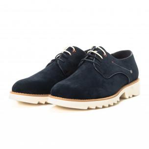 Pantofi casual din velur albastru pentru bărbați  2