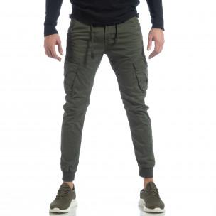 Pantaloni cargo Jogger în verde militar pentru bărbați  2