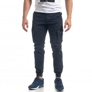 Pantaloni de bărbați albaștri cu buzunare cargo 2