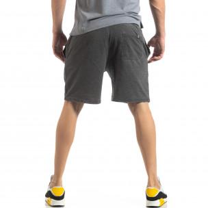 Pantaloni sport scurți de bărbați gri cu efect decolorat 2