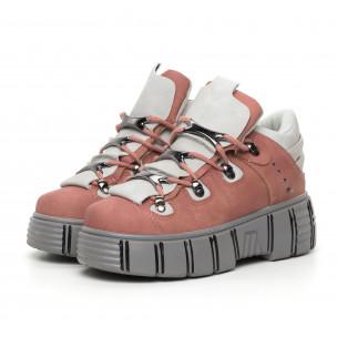 Botine de dama roz cu platformă design Trekking 2