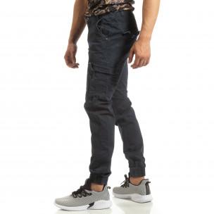 Pantaloni albaștri cargo jogger pentru bărbați