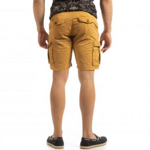 Pantaloni cargo scurți de bărbați în camel cu detaliu  2