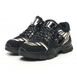 Pantofi sport de dama tip Hiker negru și zebră Moom 2