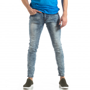 Washed Slim Jeans albaștri efect șifonat
