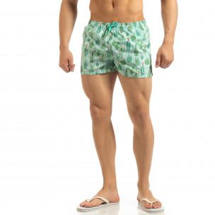 Șort de baie verde pentru bărbați design Cactus