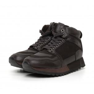 Pantofi sport înalți maro pentru bărbați  2