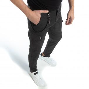 Pantaloni subțiri în melan gri pentru bărbați