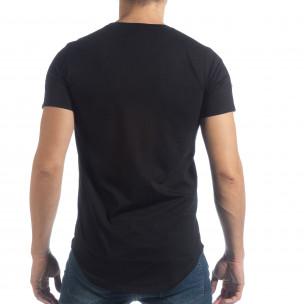 Tricou pentru bărbați negru cu aplicații  2