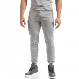 Pantaloni de trening gri de bărbați Biker style