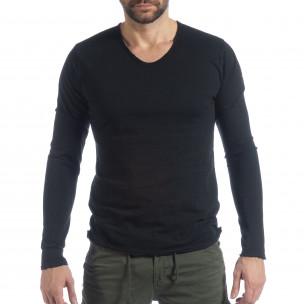 Bluză în negru V-neck pentru bărbați