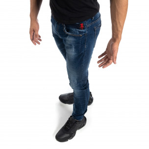 Blugi de bărbați albaștri cu efect decolorat și rupturi Slim fit  2