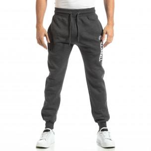 Pantaloni sport pentru bărbați gri cu inscripție  2