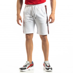Pantaloni sport scurți albi de bărbați cu benzi și stele
